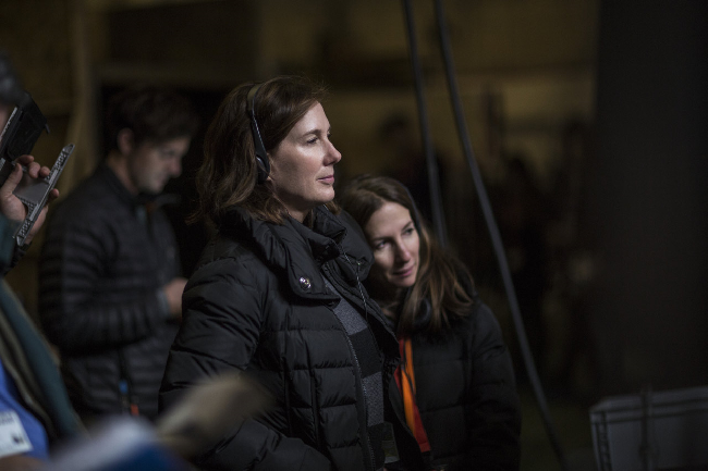 Kathleen Kennedy on set