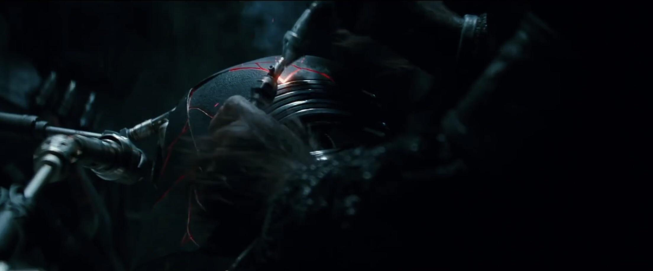 Kylo Rens Helmet Getting Repaired in star wars the rise of skywalker