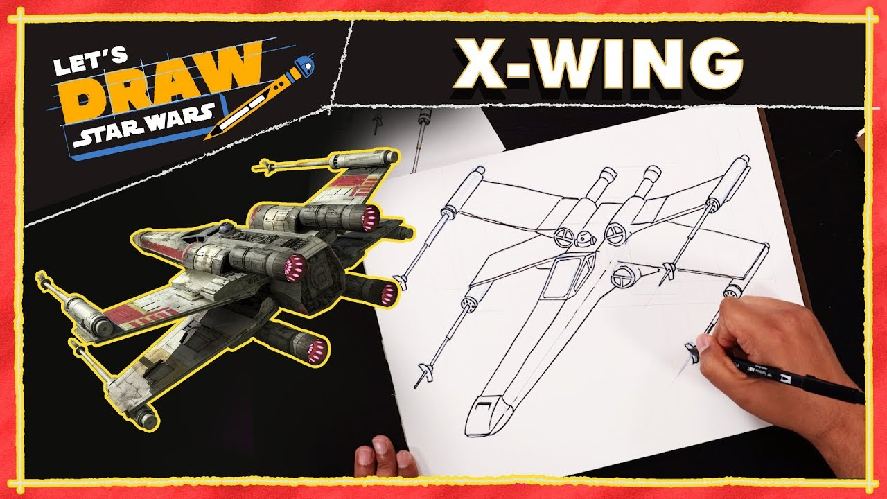 Learn to Draw Star Wars x wing Drawing Tutorial
