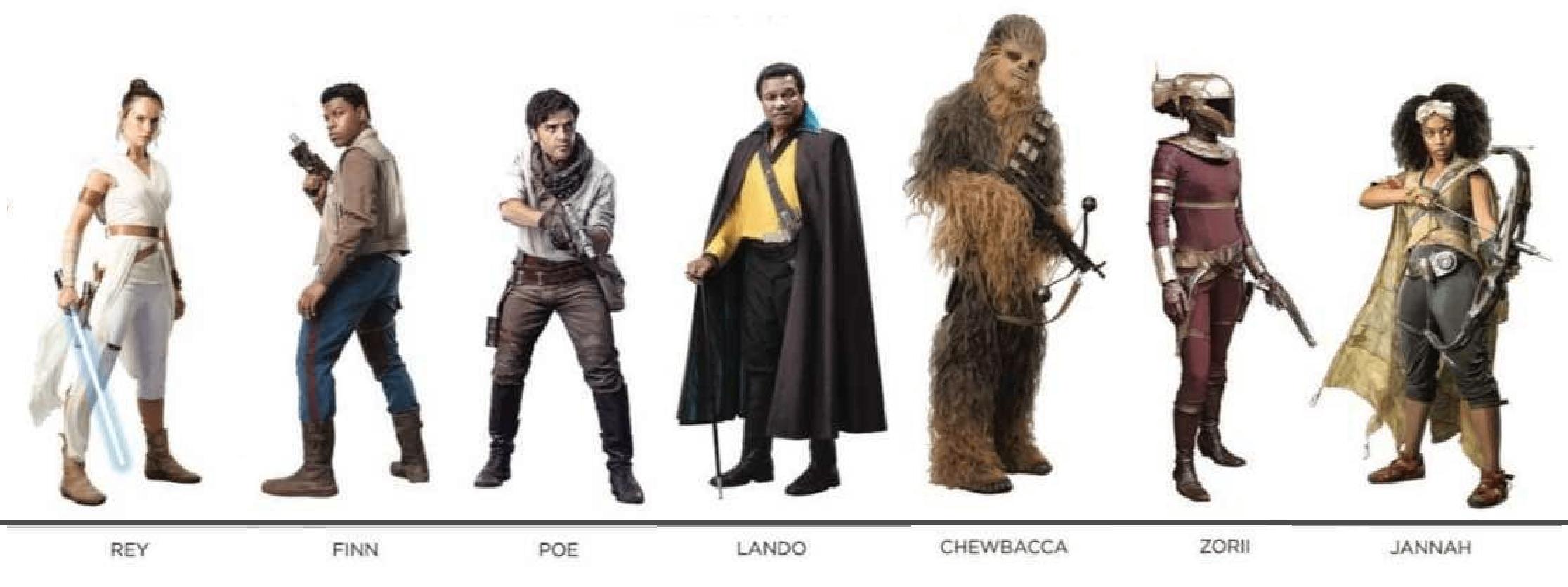 Star Wars Episode IX Rey Poe Finn Lando Chewbacca Zorii Jannah