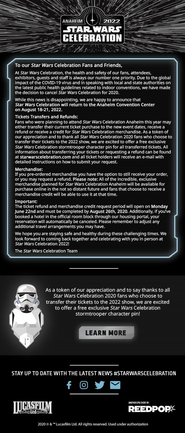 Star Wars Celebration Anaheim 2020 Cancelled