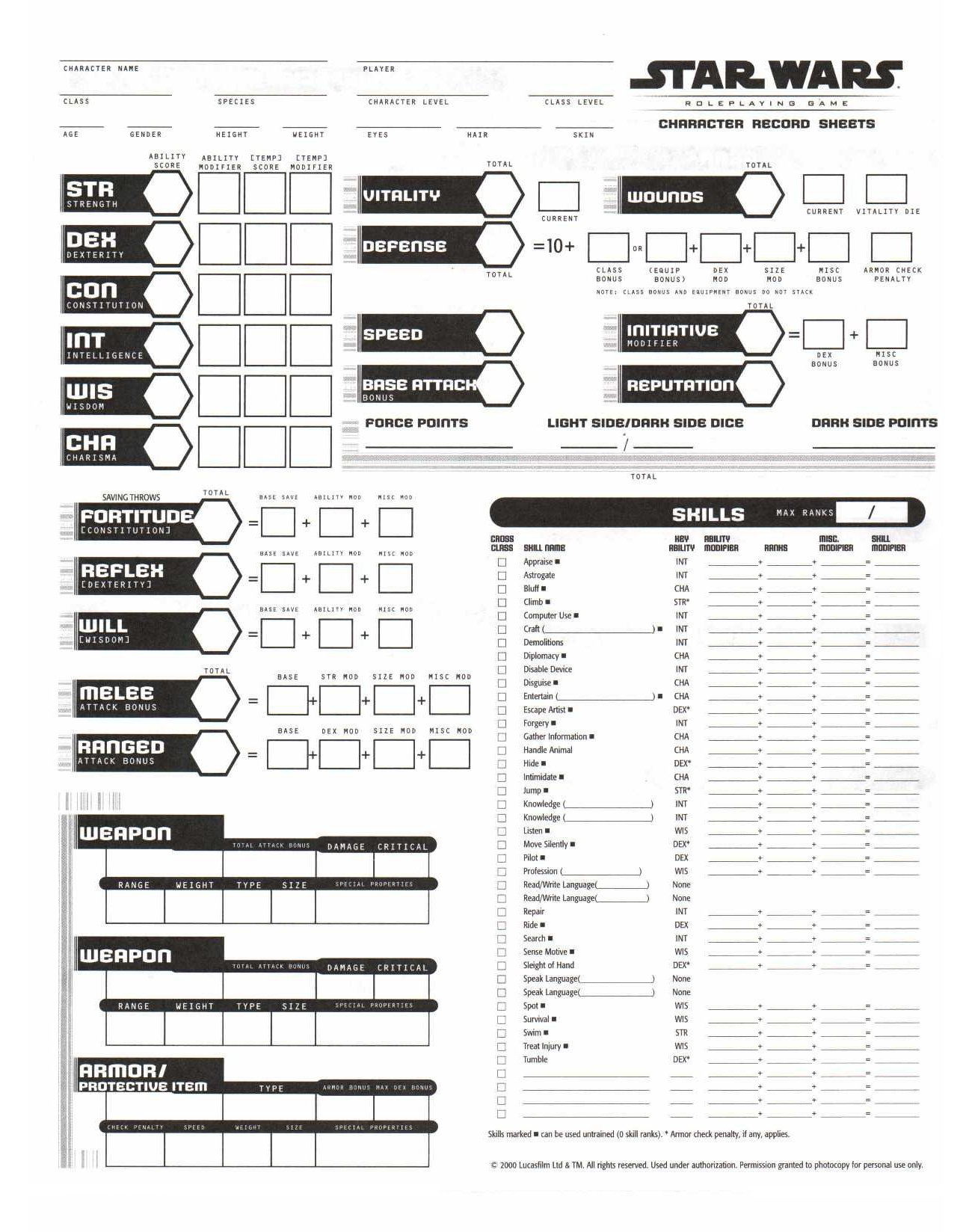 Nbos Character Sheet Designer Review : Theforce rpg archives